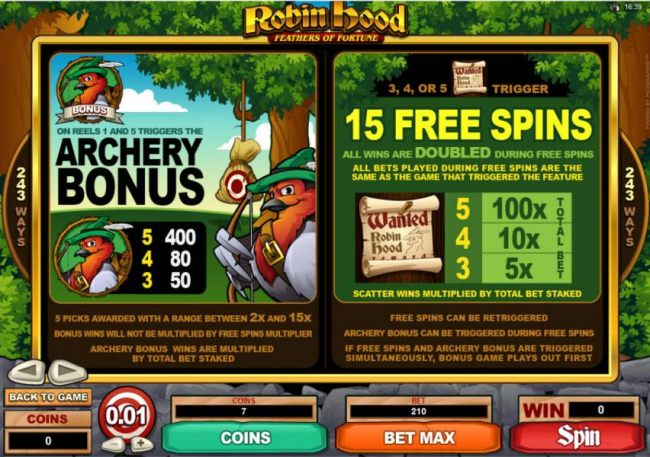 Archery Bonus Feature Paytable and Rules. Free Spin Rules