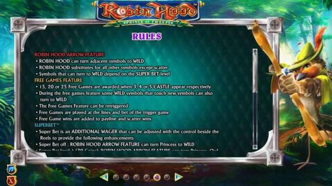Robin Hood Arrow Feature rules and Free Games Feature rules.