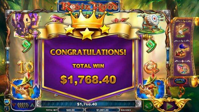 The free games feature leads to a total win of 1,768.40