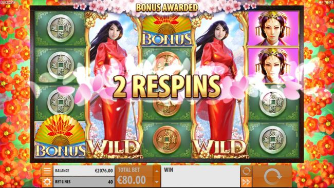Additionally, the two full princess wild stacks trigger 2 respins.