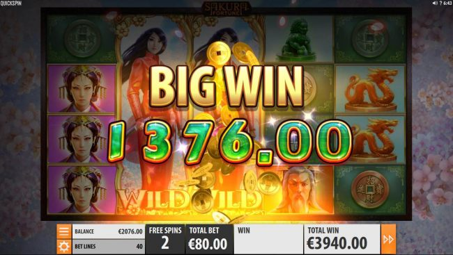 Two locked wild symbols triggers a 1376.00 big win during the free spins bonus feature.