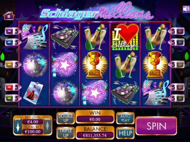 A German TV Singing Talent Show themed main game board featuring five reels and 5 paylines with a $4,000 max payout