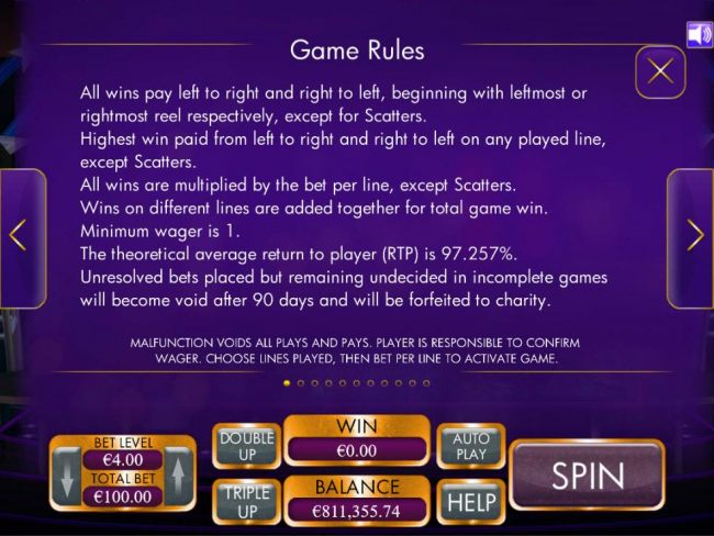 General Game Rules - The theoretical average return to player (RTP) is 97.257%.