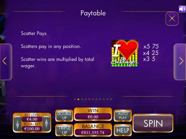 L Love Schlager scatters pay in any position. Scatter wins are multiplied by the total wager.