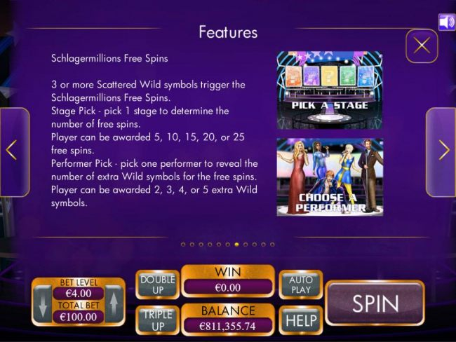Free Spins Rules - 3 or more scattered Wild symbols trigger the Free Spins feature.