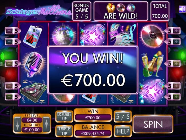 Free Spins feature pays out a total of 700.00