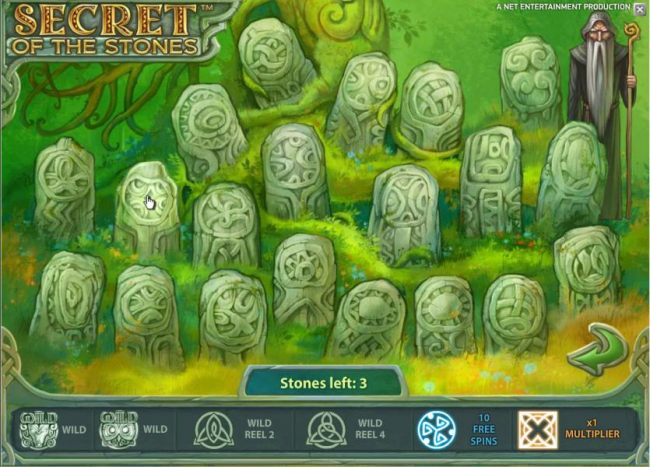 bonus feature game board - pick three stones to earn prizes