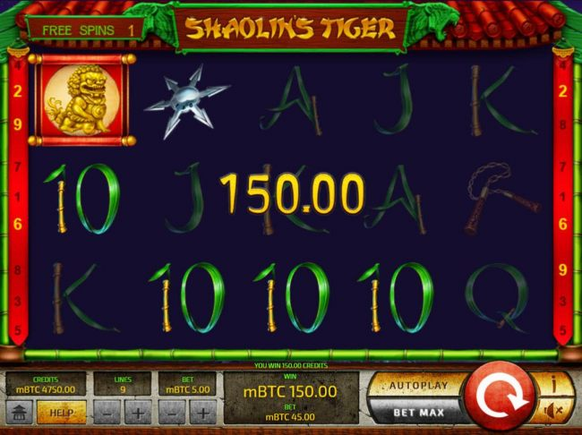 A 150.00 win triggered during the free spins feature.