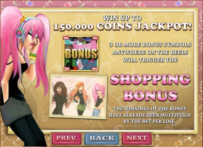 bonus feature rules  - win up to 150,000 coins