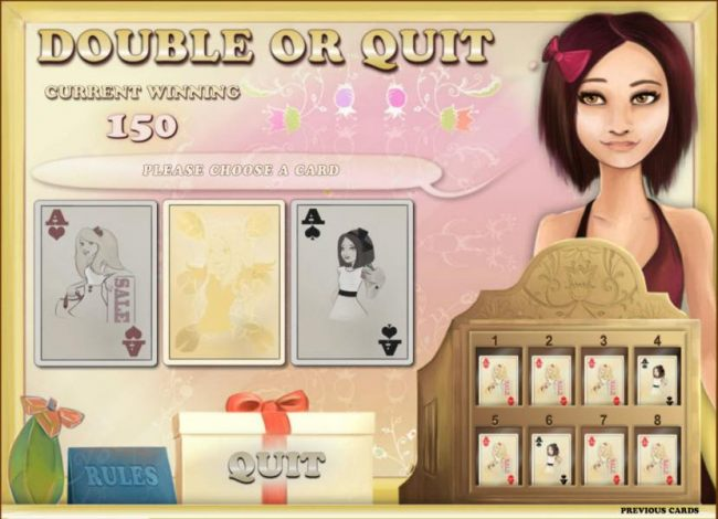 double or quit gamble feature game board - choose a color for a chance to increase your winnings