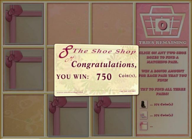 bonus feature pays out a 750 coin big win for matcing 2 pairs of shoes