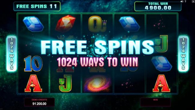 Free Spins have been triggered once the Stardust meter is filled. All free spins are played as 1024 ways to win.