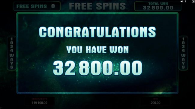 The total payout for the free spin game paly was 32,800.00 for a super mega win!