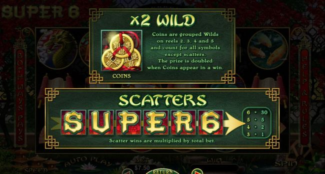x2 wild rules and scatter symbols