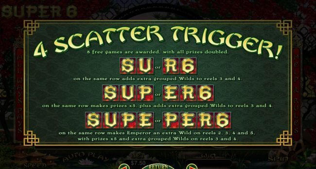 4 Scatters Trigger Rules.