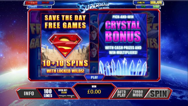 Game feature include: Save the Day Free Games with locked wilds and Pick and Win Crystal Bonus.