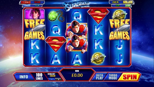 A comic book superhero themed main game board featuring five reels and 100 paylines progressive jackpots max payout.