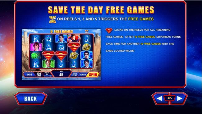 Free Games symbols on reels 1, 3 and 5 triggers the Save the Day Free Games.