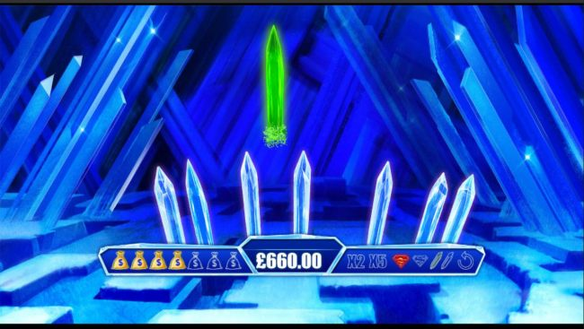 Revealing one of the green crystals ends the bonus game play.