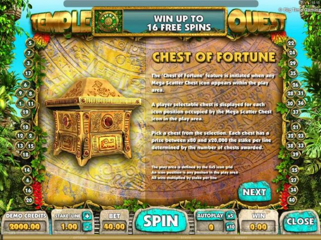 Chest of Fortune - this is a pick me bonus feature