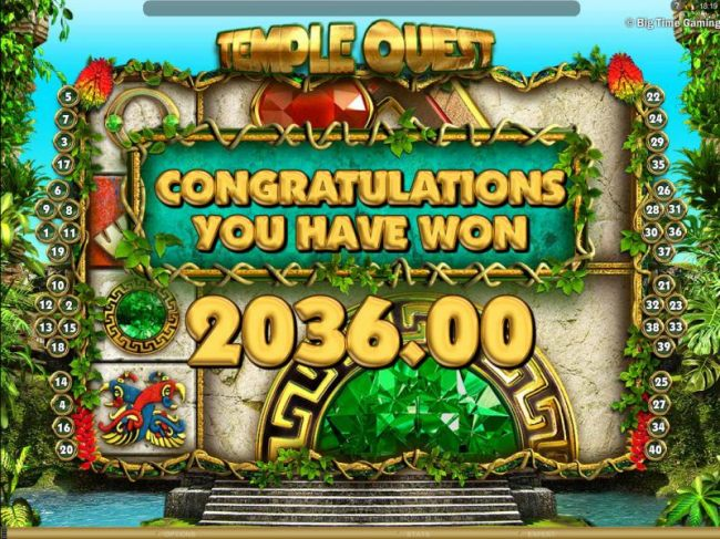 The free spins feature pays out a total of $2036 for a mega win!