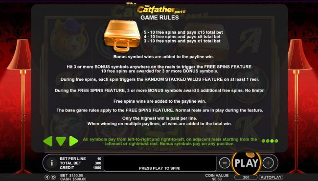 The Gold Briefcase is the game scatter symbol. Hit 3 or more Gold Briefcase bonus symbol anywhere on the reels to trigger the Free Spins feature. 10 Free Spins are awarded for three or more bonus symbols.
