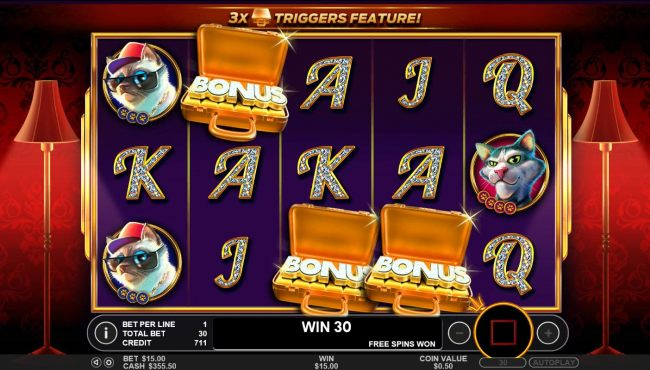 Landing three or more Gold Briefcase scatter symbols anywhere on the reels triggers the Free Spins Bonus feature.