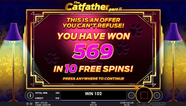 The Free Spins total payout is 569 credits for a big win!