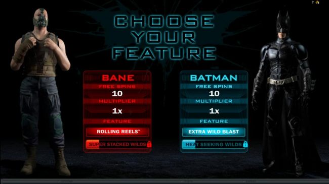 choose your free spin feature Bane or Batman