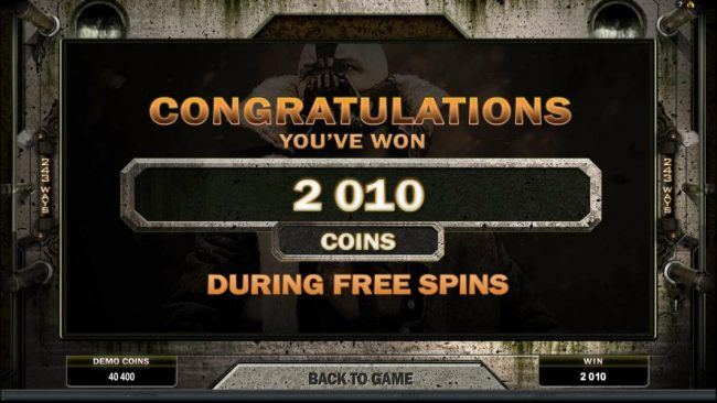 The free spin feature paid out 2010 coins
