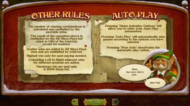 General Game Rules - Maximum win per paid spin is 2000 times bet.