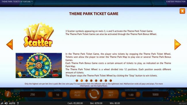 3 scatter symbols appearing on reels 3, 4 and 5 activate the Theme Park Ticket Game.
