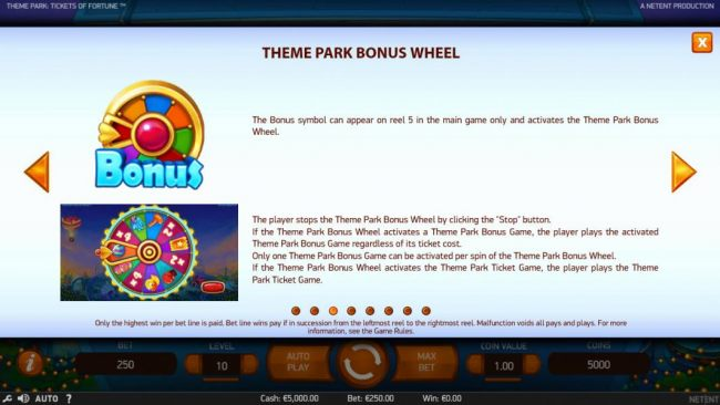 The bonus symbol can appear on reel 5 in the main game only and activates the Theme Park Bonus Wheel