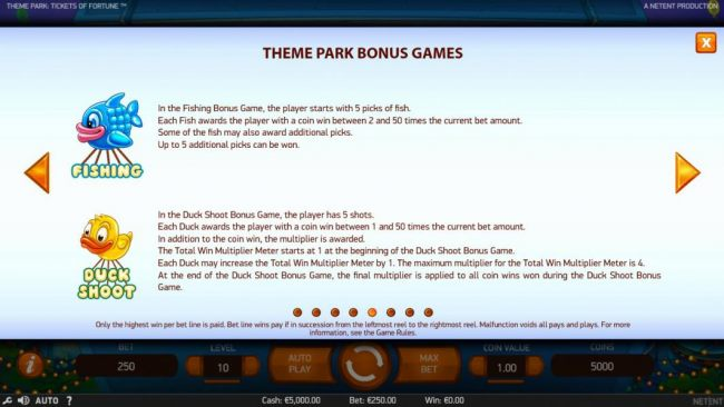 Additional Theme Park Bonus Games include: Fishing and Duck Shoot.