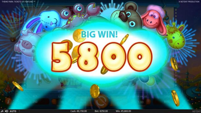 A 5800 coin big win activated.