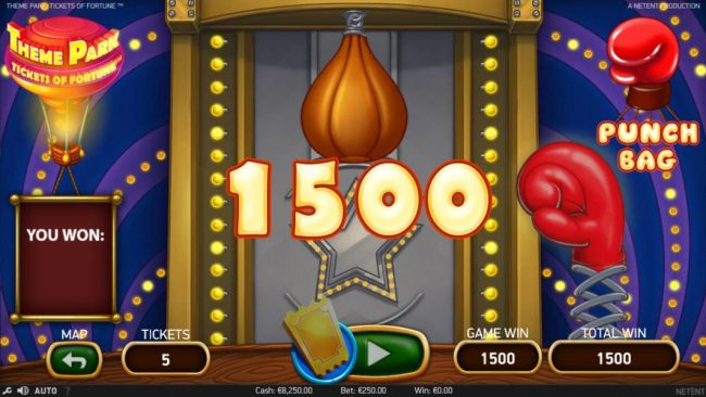 Hitting the punching bag awarded a 1500 coin big win.