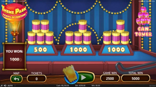 Playing the Can Tower game paid out 2500 coins.
