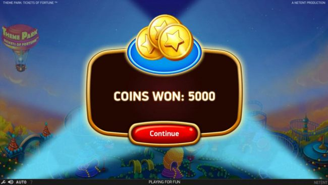 Theme Park Bonus Game paid out a total of 5000 coins for an awesome win.