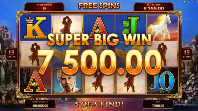 A five of a kind triggered during the Free Spins feature leads to a 7,500 Super Big Win!
