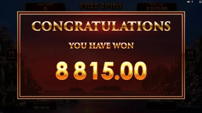 An $8,815.00 super big win is paid out after Free Spins game play ends.