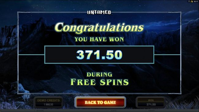 The free spins feature pays out a total of $371