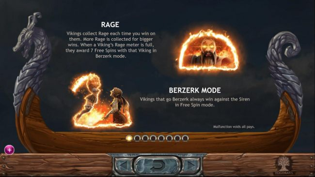 Rage and Berzerk Mode Rules - Vikings collect rage each time you win on them. Rage collected for bigger wins. Vikings that go Berzerk always win against the Siren in free spin mode.