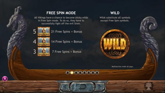 All Vikings have a chance to become sticky wilds in Free Spins mode. To do so, they have to successfully fight off the evil Siren. Wilds substitute all symbols except Free Spin symbols.