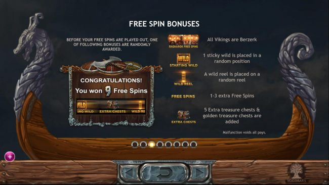Free Spin Bonuses - Before your Free Spins are played out, one of the following bonuses are randomly awarded: Ragnarok Free Spins, Starting Wild, Wild Reel, Free Spins or Extra Chests.