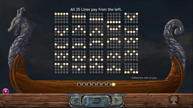 Payline Diagrams 1-25. All 25 lines pay from left to right.