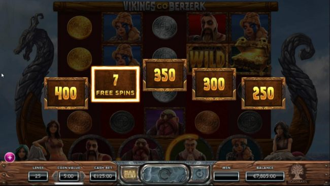 Golden Treasure Chest lands on 5th reel, giving the player a choice to select of of 5 prizes. Here the selection is 7 free spins.