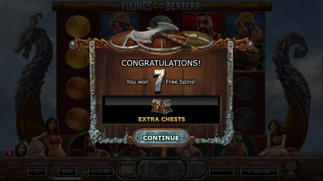7 Free Spins awarded with Extra Treasure Chests added to the 4th and 5th reels.