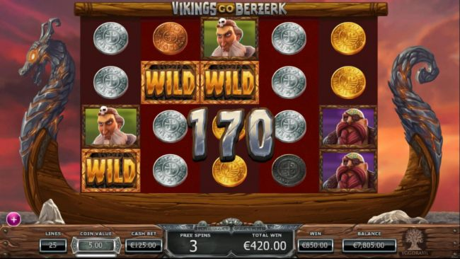 A 170 coin big win triggered during the Free Spins feature.