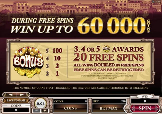 During Free Spins Win Up To 60,000 Coins