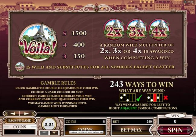 Wild Symbol Pays, Gamble Rules and 243 Ways to win rules